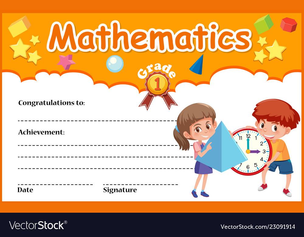 Mathematics Diploma Certificate Template Vector Image with Fresh Math Certificate Template