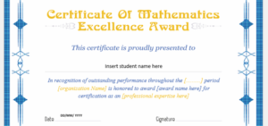 Mathematics Excellence Award Certificates | Professional within Fresh Math Certificate Template 7 Excellence Award