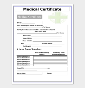 Medical Certificate From Doctor Template | 17+ Free Samples with Free Fake Medical Certificate Template