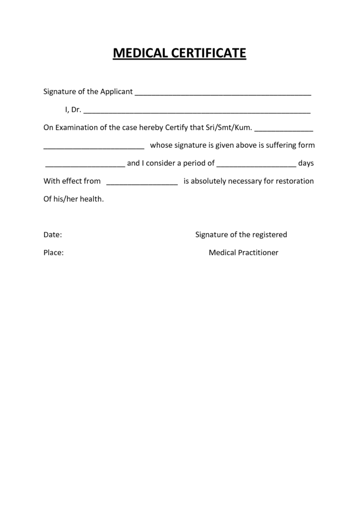 Medical Certificate Template Australia Fake Doctors Note for Australian Doctors Certificate Template