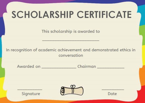 Memorial Scholarship Certificate Template | Awards with Best 10 Scholarship Award Certificate Editable Templates
