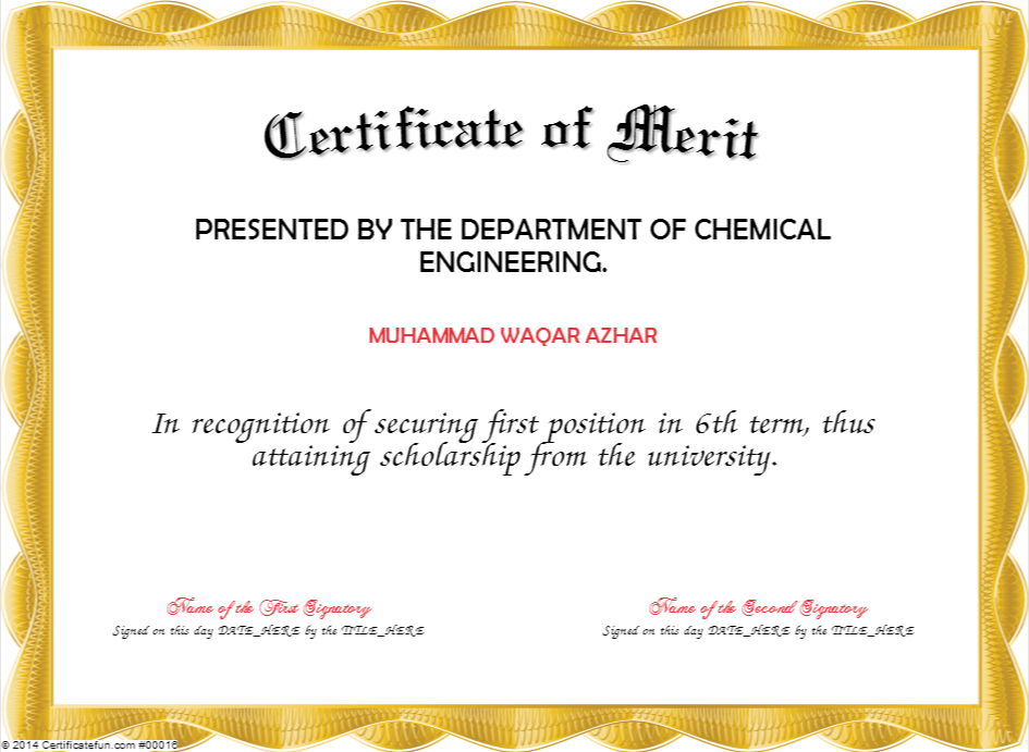 Merit Certificate Template | Certificate Templates with Fresh Certificate Of Merit Templates Editable