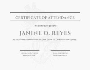 Minimalist Conference Attendance Certificate pertaining to Certificate Of Attendance Conference Template
