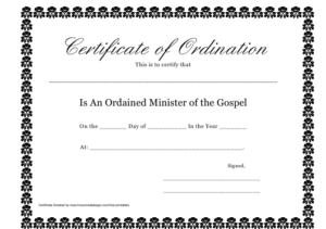 Minister Of The Gospel Ordination Certificate Template intended for Quality Ordination Certificate Template