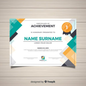 Modern Certificate Template In Flat Style Free Vector in Travel Certificates 10 Template Designs 2019 Free