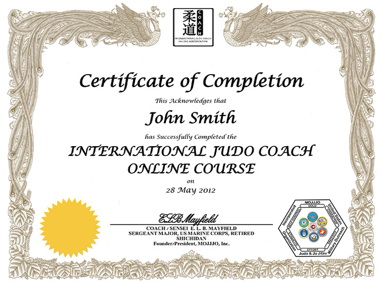Mojjjo International Judo Coach Certification throughout Best Best Coach Certificate Template