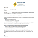 Monument Academy Sy18 19: Student Acceptance Letter Template Pertaining To Quality Certificate Of Acceptance Template