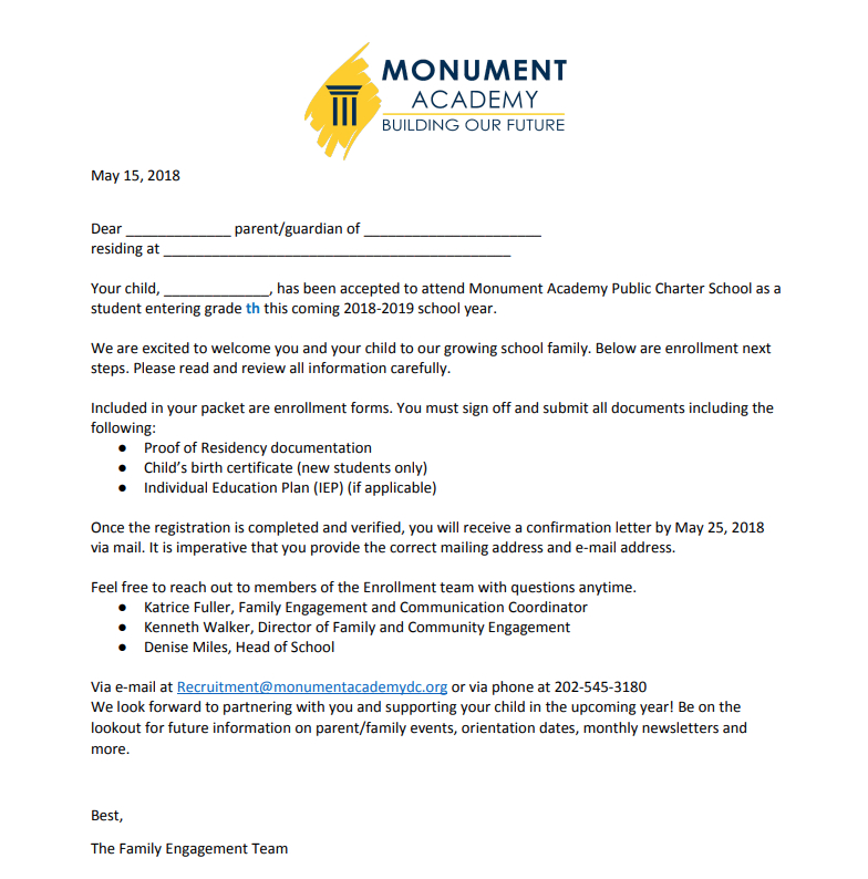 Monument Academy Sy18-19: Student Acceptance Letter Template pertaining to Quality Certificate Of Acceptance Template