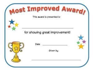 Most Improved Award Certificate   Big Boy Potty, Big Girl with regard to Good Behaviour Certificate Template 10 Kids Awards