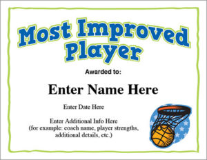 Most Improved Basketball Award | Certificate Template pertaining to New Most Improved Player Certificate Template