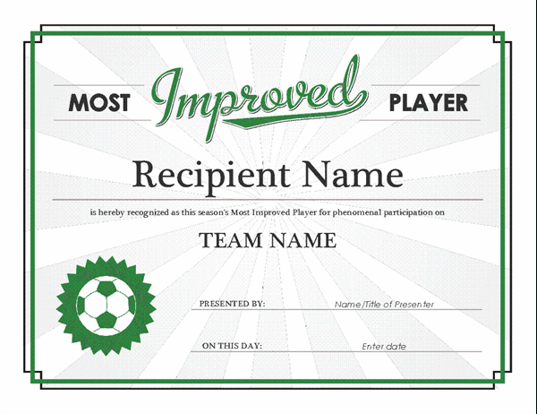 Most Improved Player Award Certificate for Player Of The Day Certificate Template