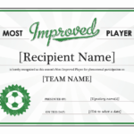 Most Improved Player Award Certificate – Templates | Award Pertaining To Player Of The Day Certificate Template Free