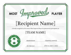 Most Improved Player Award Certificate – Templates   Award pertaining to Player Of The Day Certificate Template Free