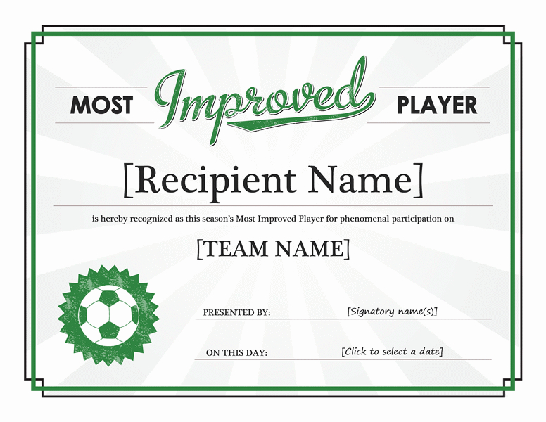 Most Improved Player Award Certificate - Templates   Award pertaining to Player Of The Day Certificate Template Free