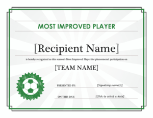 Most Improved Player Certificate – Free Certificate throughout New Most Improved Player Certificate Template