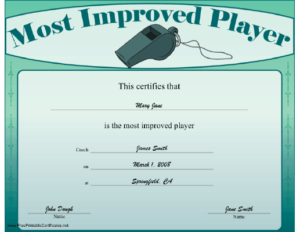 Most Improved Player Certificate Printable Certificate throughout Most Improved Player Certificate Template