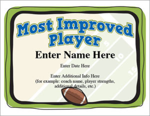 Most Improved Player Football Certificate | Award Template with Most Improved Player Certificate Template