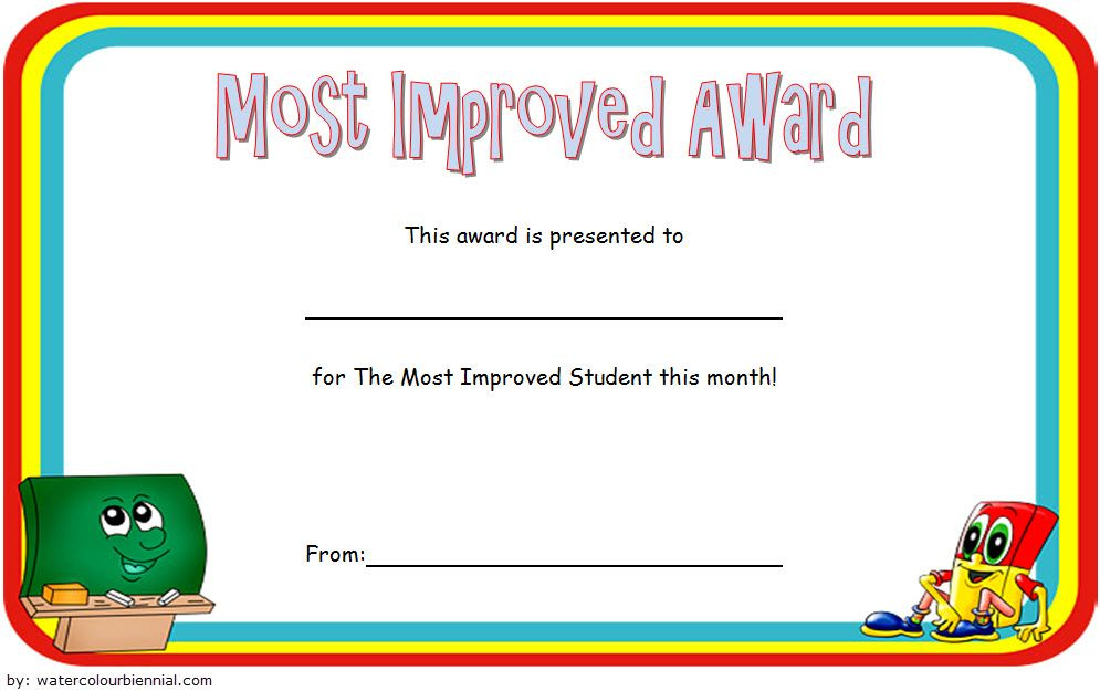 Most Improved Student Award Certificate Template Free 1 Intended For Most Improved Student Certificate