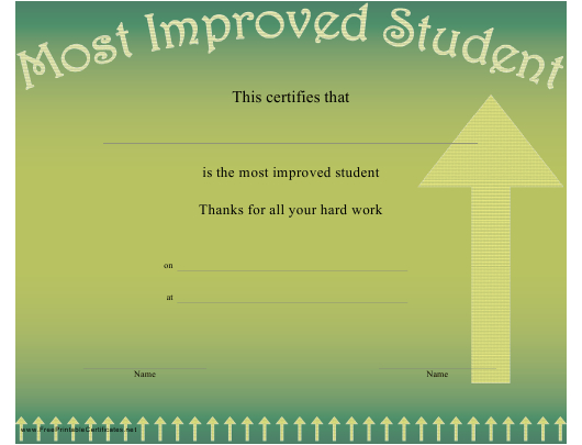 Most Improved Student Certificate Template Download in Most Improved Student Certificate