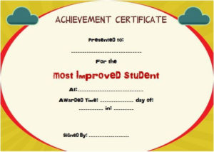 Most Improved Student Of The Year Award | Student in Quality Most Improved Student Certificate