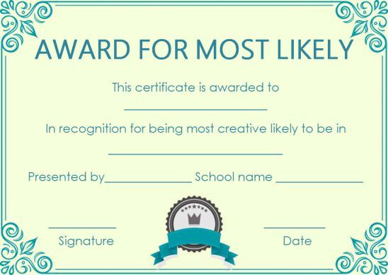 Most Likely Paper Plate Award | Most Likely To Awards, Award for Best Most Likely To Certificate Template Free