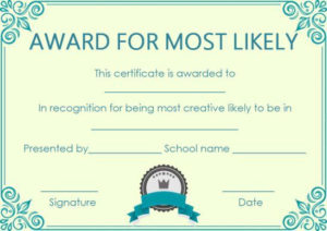 Most Likely Paper Plate Award | Most Likely To Awards, Award regarding Free Most Likely To Certificate Templates