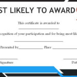 Most Likely To Award For Adults | Most Likely To Awards In Best Most Likely To Certificate Template Free