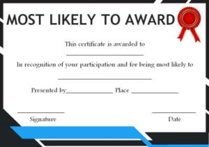 Most Likely To Award For Adults | Most Likely To Awards Intended For Fresh Most Likely To Certificate Template 9 Ideas