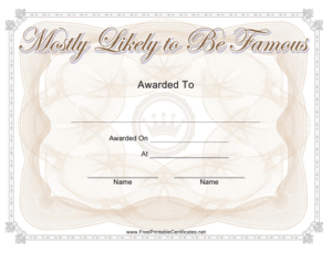 Most Likely To Be Famous Yearbook Certificate Template pertaining to Best Most Likely To Certificate Template Free