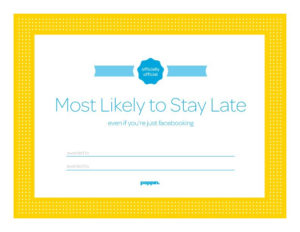 Most Likely To Stay Late Certificate From Poppin | Funny within Best Free Most Likely To Certificate Templates