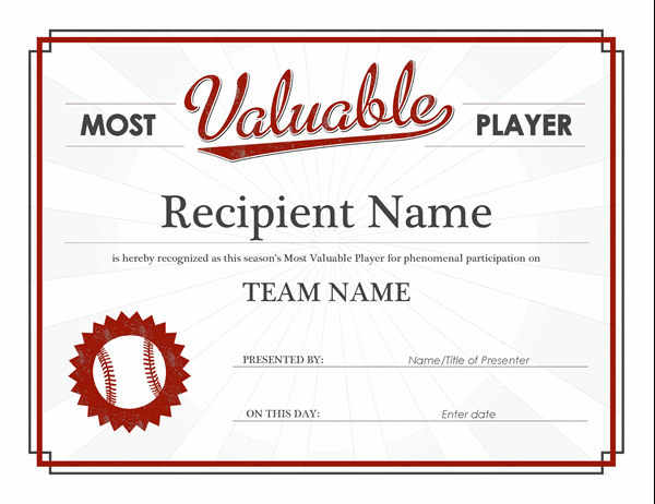 Most Valuable Player Award Certificate For Mvp Award Certificate Templates Free Download