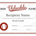 Most Valuable Player Award Certificate Intended For Sports Award Certificate Template Word
