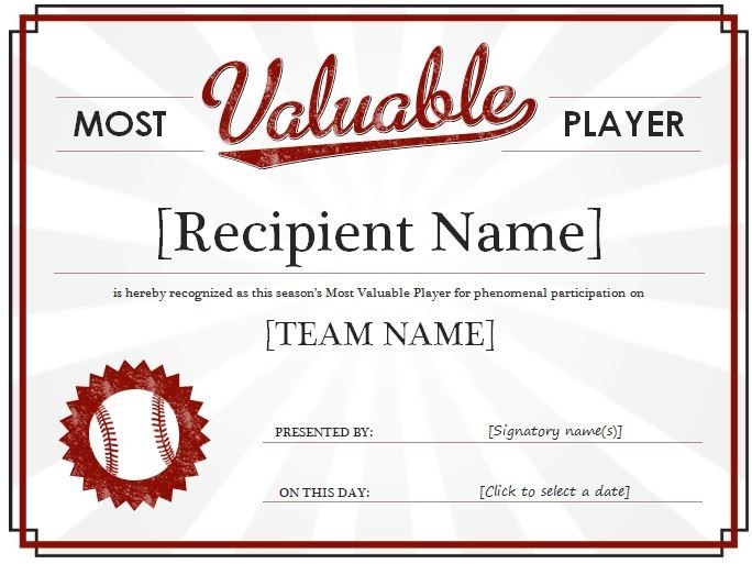 Most Valuable Player Award Certificate: It Is A Recognition intended for Mvp Award Certificate Templates Free Download