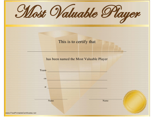 Most Valuable Player Award Certificate Template Download with New Mvp Award Certificate Templates Free Download