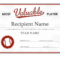 Most Valuable Player Award Certificate with regard to Quality Mvp Certificate Template
