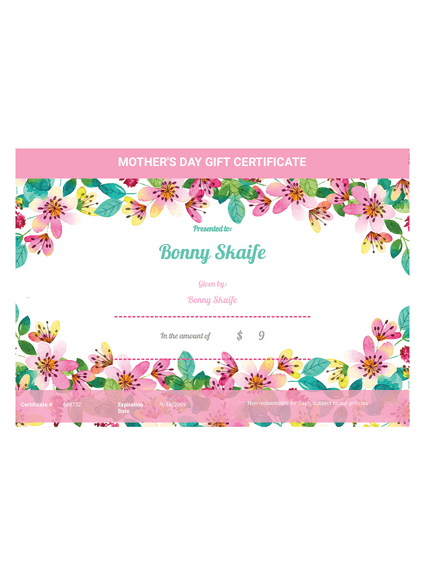 Mother'S Day Gift Certificate Template - Pdf Templates | Jotform With Regard To Unique Mothers Day Gift Certificate Templates