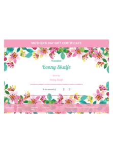 Mother'S Day Gift Certificate Template – Pdf Templates | Jotform with Spa Day Gift Certificate Template