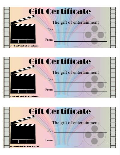 Movie Gift Certificate Printable Certificate for Movie Gift Certificate Template