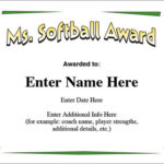 Ms. Softball Award – Certificate Template – Fast Pitch And Slow In Printable Softball Certificate Templates