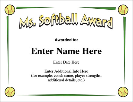 Ms. Softball Award - Certificate Template - Fast Pitch And Slow in Printable Softball Certificate Templates