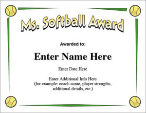 Ms. Softball Award – Certificate Template – Fast Pitch And Slow regarding Free Softball Certificate Templates