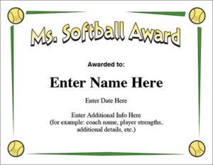 Ms. Softball Award – Certificate Template – Fast Pitch And Slow with Unique Softball Award Certificate Template