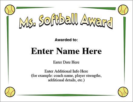 Ms. Softball Award - Certificate Template - Fast Pitch And Slow with Unique Softball Award Certificate Template