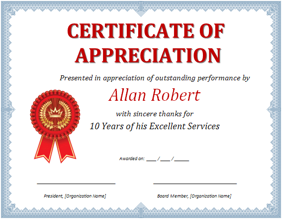 Ms Word Certificate Of Appreciation | Office Templates Online with regard to Free Certificate Templates For Word 2007