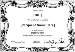 Ms Word World'S Best Award Certificate Template | Word throughout Worlds Best Boss Certificate Templates Free