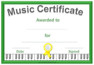 Music Certificate Template – Free And Customizable with Quality Piano Certificate Template Free Printable