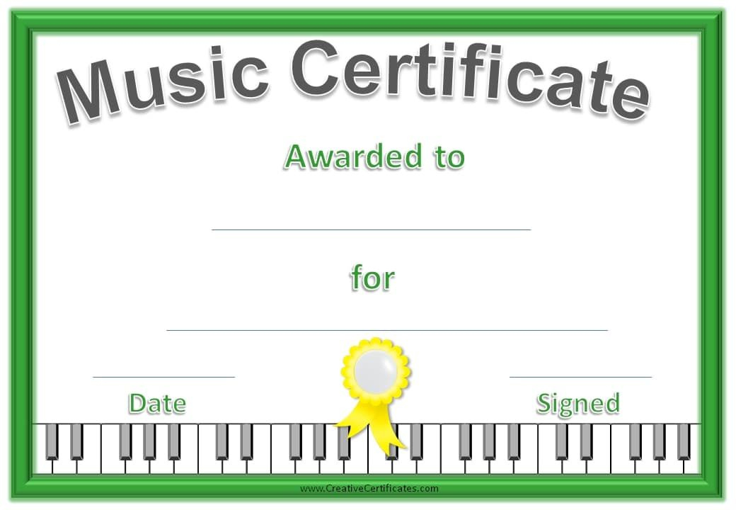 Music Certificate Template - Free And Customizable with Quality Piano Certificate Template Free Printable