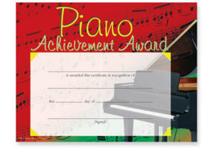 Music In Motion: Colorful Award Certificates Piano throughout Piano Certificate Template Free Printable