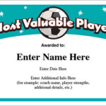 Mvp Soccer Certificate Template – Free Award Certificates For Volleyball Mvp Certificate Templates