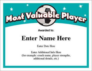 Mvp Soccer Certificate Template – Free Award Certificates regarding Mvp Certificate Template